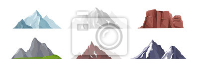 Poster Vector illustration collection of different mountain icons in flat style. Rocks, mountains and hills set isolated on white background.