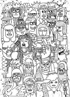 Poster Vector Illustration des Karikaturgesichtsmengengekritzels von Hand gezeichnetes Muster, Gekritzelart