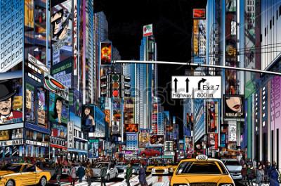 Poster Vector Illustration einer Straße in New York City nachts