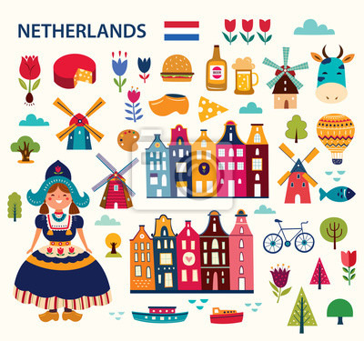Poster Vector illustration in cartoon style with symbols of Netherlands