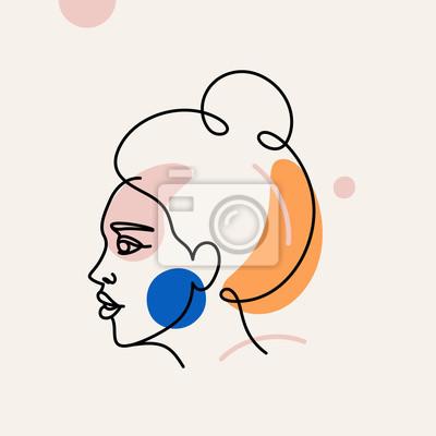 Poster Vector illustration in minimal linear style - minimalistic female portrait