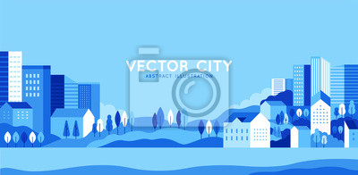 Poster Vector illustration in simple minimal geometric flat style - city landscape with buildings, hills and trees - abstract horizontal banner