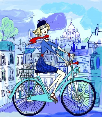 Poster vector illustration of a young woman on a bicycle in Paris