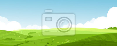 Poster Vector illustration of beautiful summer fields landscape with a dawn, green hills, bright color blue sky, country background in flat cartoon style banner.