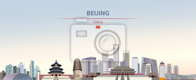 Poster Vector illustration of Beijing city skyline on colorful gradient beautiful daytime background