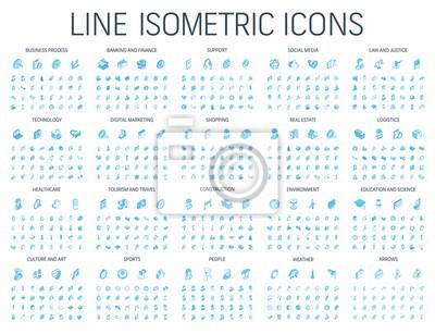 Poster Vector illustration of isometric line icons for business, bank, social media market, logistics, internet technology, shop, education, sport, healthcare, art and construction. Blue 3d web symbols set.