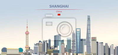 Poster Vector illustration of shanghai city skyline on colorful gradient beautiful daytime background