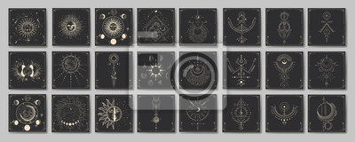 Poster Vector illustration set of moon phases. Different stages of moonlight activity in vintage engraving style. Zodiac Signs
