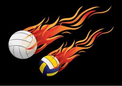 Poster vector illustration volleyball fire sport