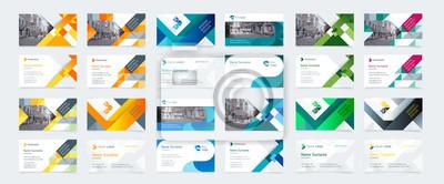 Poster Vector kreative Visitenkarteschablone mit Dreiecken, Quadrate, rund, Wellen für Geschäft, Technologie. Einfaches und sauberes Design mit einem Logo und einem Platz für ein Foto. Creative Layout Untern