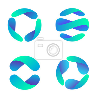 Poster Vector logo design template for business. Global icon set.