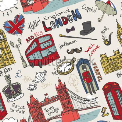 Poster Vector London-Markstein und beschriften im nahtlosen Muster Gekritzelhand gezeichnetes flüchtiges Berühmte Architekturmonumente, Zeichen, Symbole. England-Weinleseikonen, Hintergrund, Hintergrund, Tap