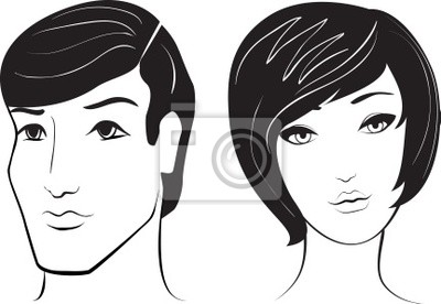Poster vector man and woman face
