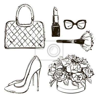 Poster Vector Mode schwarz und weiß Skizze gesetzt. Hand gezeichnete Grafikschuhe, Tasche, Make-up Pinsel, Lippenstift, Blumenkasten, Brille, Blumen. Mode-Illustration-Kit vogue Stil