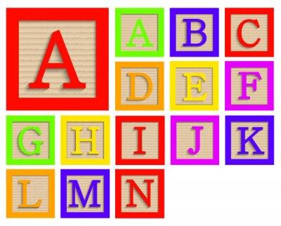 Poster Vector modernen hölzerne Alphabetblöcke gesetzt
