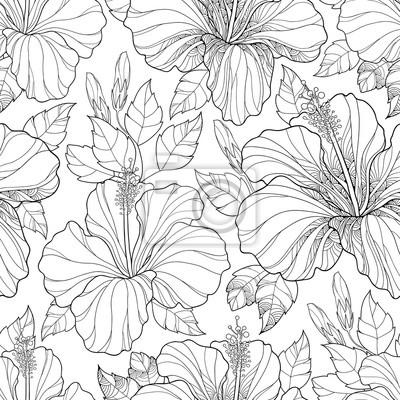 Vector nahtlose muster mit kunstvollen chinesischen hibiscus ...