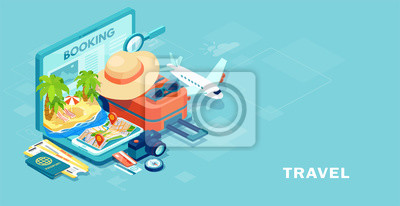 Poster Vector of travel equipment and luggage on a mobile laptop touch screen