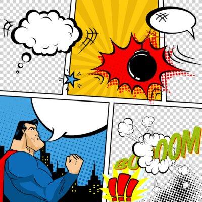 Poster Vector Retro Comic Speech Bubbles Illustration.
