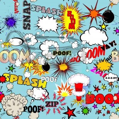 Poster Vector Retro Nahtlose Muster mit komischen Sprechblasen, Labels, Logos und Comic-Buch Wörter