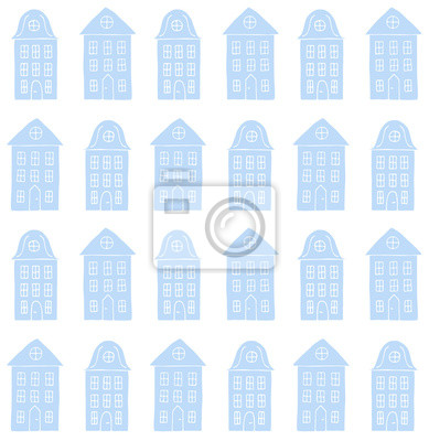 Vector seamless pattern of blue hand drawn doodle sketch Scandinavian city house isolated on white background