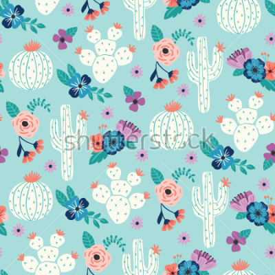 Poster Vector seamless pattern with hand drawn cactus and floral bouquets on a blue background