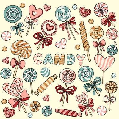 Poster Vector-Set mit Süßigkeiten und Lutscher