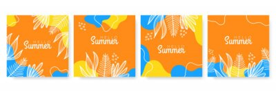 Poster Vector set of colourful social media stories design templates, backgrounds with copy space for text - summer landscape. Summer background with leaves and waves