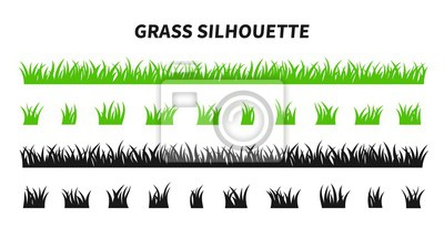 Poster Vector set of green grass silhouettes isolated on white background. Natural, eco, bio, organic. Illustration for concept design.