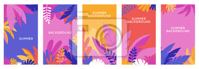 Poster Vector set of social media stories design templates, backgrounds with copy space for text - summer backgrounds for banner, greeting card, poster and advertising