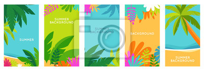 Poster Vector set of social media stories design templates, backgrounds with copy space for text - summer landscape