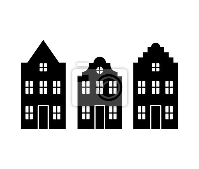 Vector set of traditional old Europe buildings like Amsterdam houses. Isolated black simplified silhouette