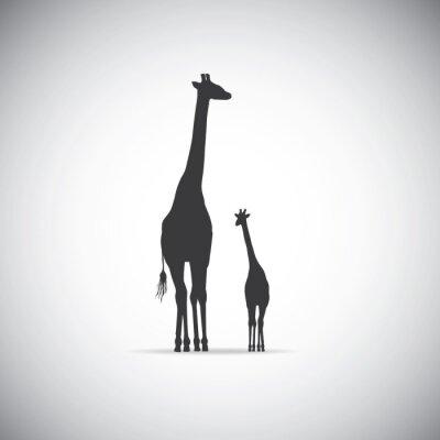 Poster Vector Silhouette der Mutter Giraffe mit ihrem Baby