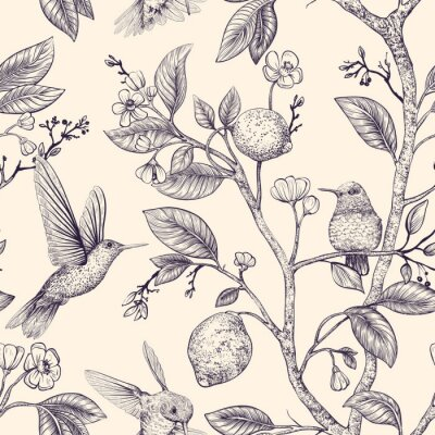 Poster Vector sketch pattern with birds and flowers. Hummingbirds and flowers, retro style, nature backdrop. Vintage monochrome flower design for wrapping paper, cover, textile, fabric, wallpaper