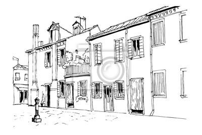 Poster Vector Skizze Der Architektur Burano Insel Venedig Italien