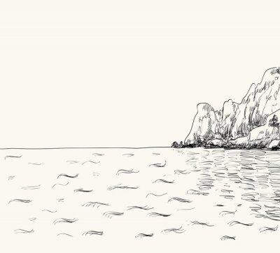 Poster Vector Sommer Seestückskizze. Meer und Berge
