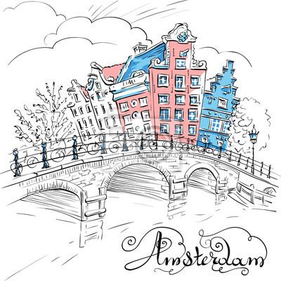 Vector Stadt Skizze von Amsterdam Kanal, Brücke und typischen Häusern, Holland, Niederlande.
