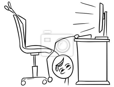 Bürostuhl comic  Poster: Vector stick man cartoon des mannes auf dem bürostuhl liegen
