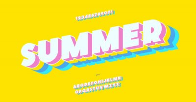 Poster Vector summer font 3d bold color style modern typography for decoration, logo, poster, t shirt, book, card, sale banner, printing on fabric, industrial. Cool typeface. Trendy fun alphabet. 10 eps