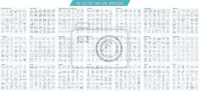 Poster Vector thin line mini , simple outline icons set, 25x25px grid   Pixel perfect.  Editable stroke.
