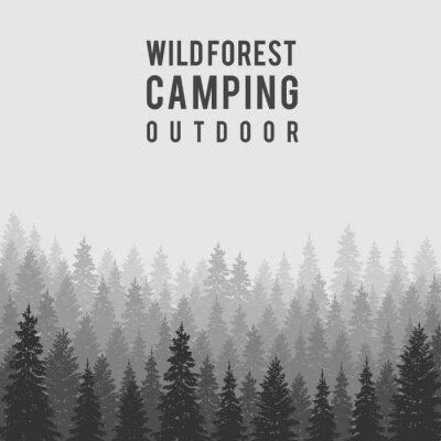 Poster Vector wilden Nadelwald Hintergrund. Outdoor-Camping-Design-Vorlage