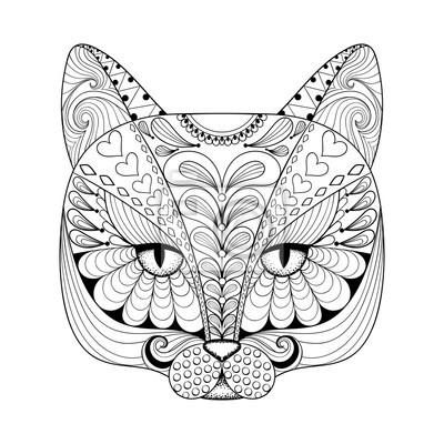 Vector Zentangle Katze Drucken Für Erwachsene Malvorlage Hand