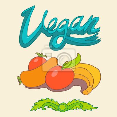 vegan retro style for design, vector illustration, hand drawn