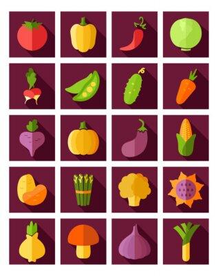 Poster Vegetable Flach Symbol mit langen Schatten