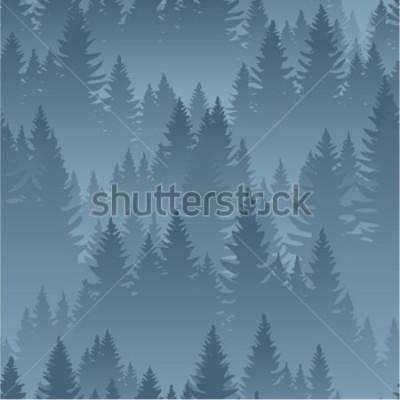 Poster Vektor Berge Wald Hintergrund Textur nahtlose Muster