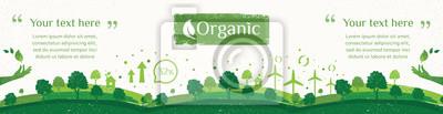 Poster Vektor der Natur, Ökologie, Bio, Umweltfahnen. Anschlagtafel oder Netzfahne der sauberen grünen Umwelt mit Schmutzart