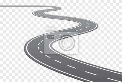 Poster Vektor gebogene Straße mit weißen Linien