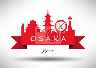 Vektor-Grafik-Design von Osaka Stadt Skyline