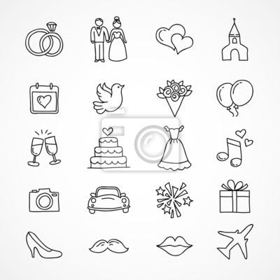 Vektor Hochzeit Symbole Braut Brautigam Paar Liebe Ehe
