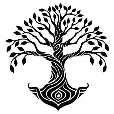 Vektor Illustration Dekorative Baum Des Lebens Schwarz Weiß