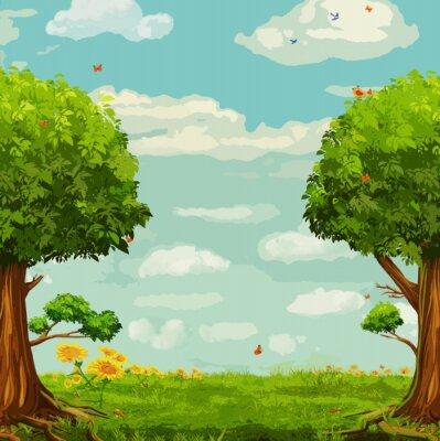 Poster Vektor-Illustration der schönen Wald-Szene mit Bäumen und Himmel